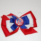"Bow Clip,5"" layered, bottle cap bow,red/white/blue, american flag"