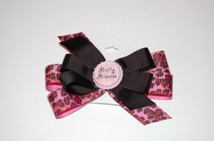 "Bow Clip,5"" layered, bottle cap bow, leopard/black"