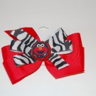 "Bow Clip,5"" layered, bottle cap bow, zebra/red, elmo"