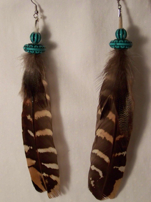 Beaded Multi Feather Earrings