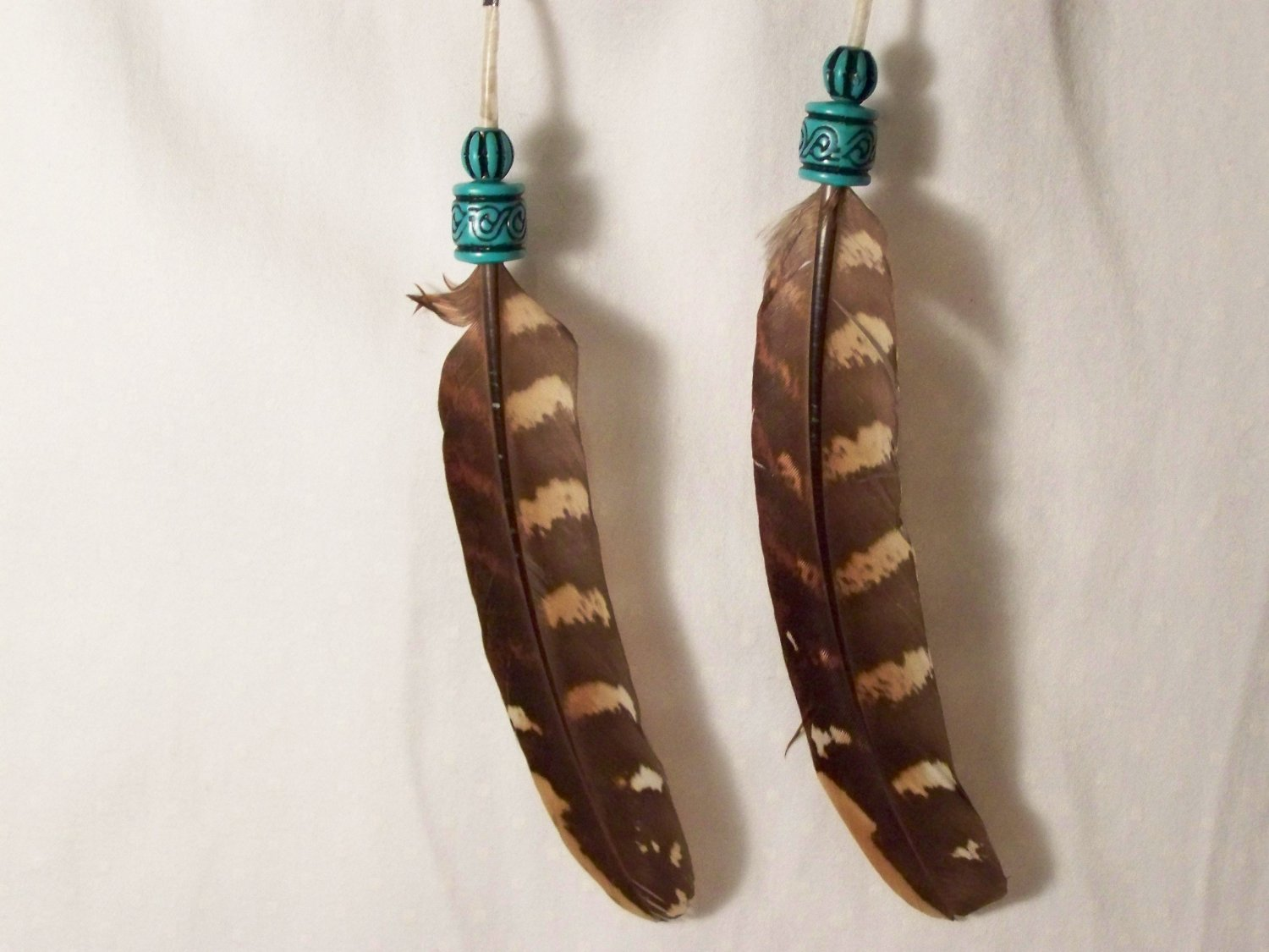 Beaded 2 Feather Earring Pair