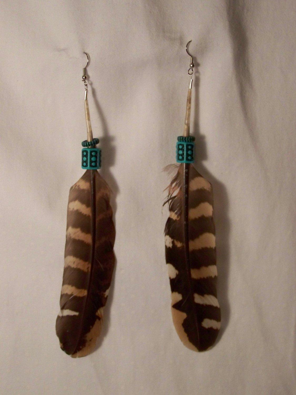Beaded Two Feather Earrings