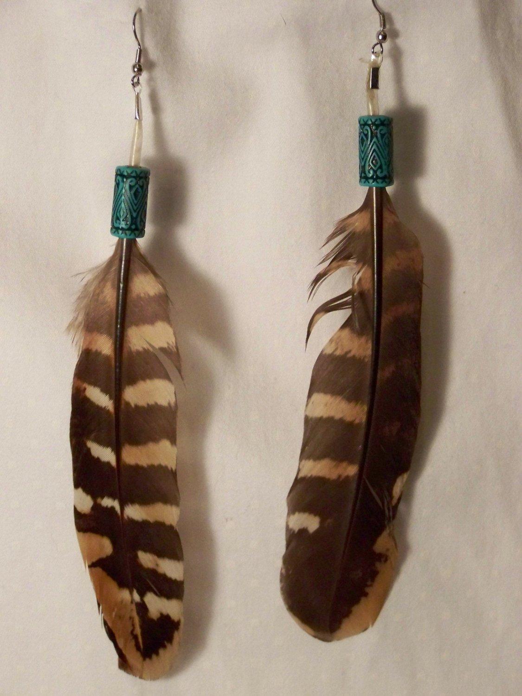 Beaded 2 Feather Earrings