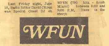 WFUN Florida  Bwanna Johnny  July 20, 1974     1 CD