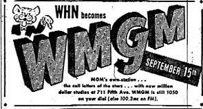 WMGM Story-becomes WHN  2-28-62  1 CD