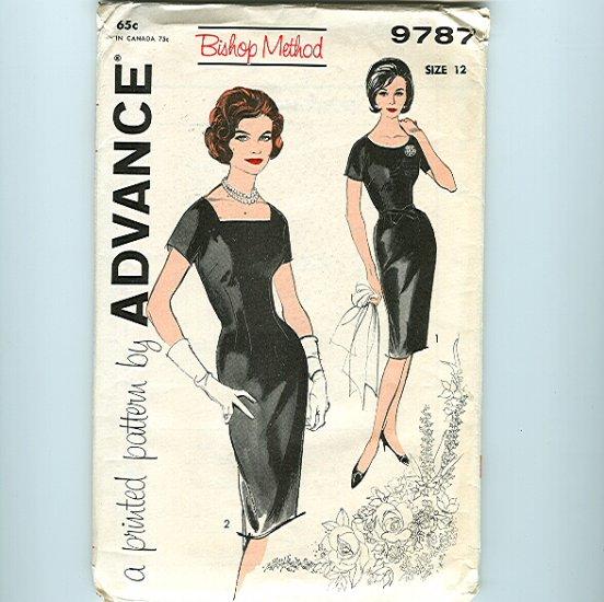 Mad Men Vintage Sewing Pattern Bombshell Sexy Wiggle Sheath Dress Advance B32 9787 UNCUT