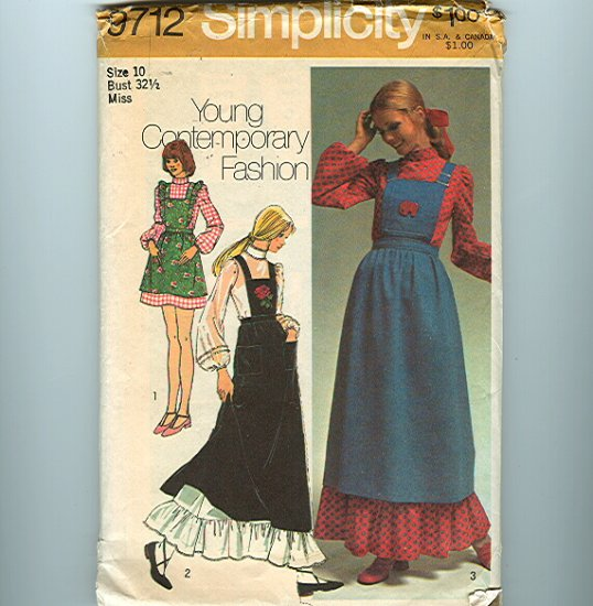 Vintage Sewing Pattern Hippie Prairie Maxi Dress & Bib Jumper UNCUT Simplicity 9712