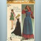 Vintage Sewing Pattern Hippie Prairie Maxi Dress & Bib Jumper UNCUT Simplicity 9712