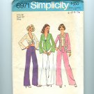 Vintage Sewing Pattern Simplicity 6971 Size 12 Disco bell sleeves Top Pants UNCUT
