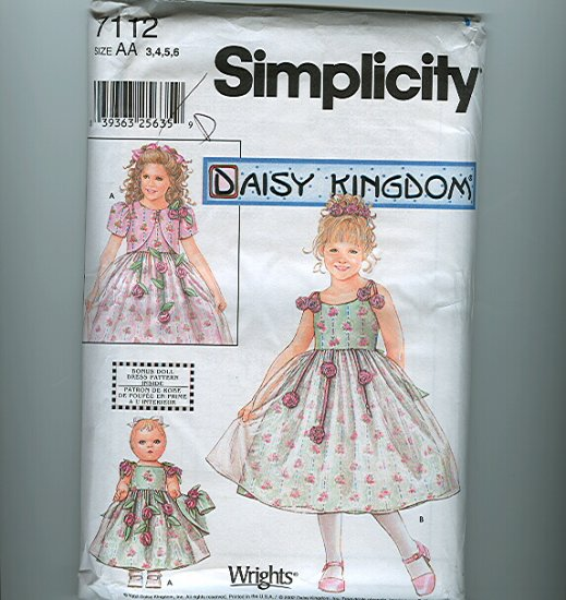 Daisy Kingdom Roses! Dress Sewing Pattern plus American Girl Doll Simplicity 7112 Sz 3-6 UNCUT