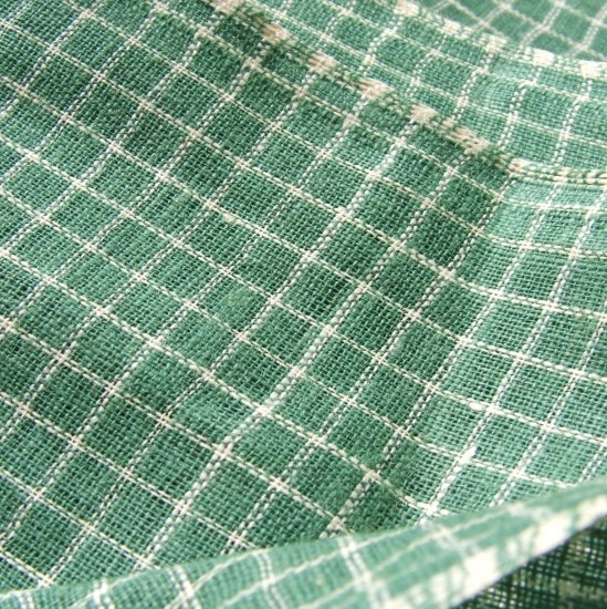 "Vintage Antique Homespun Nile Green Check Plaid Homespun Fabric Primitive! 31"" w by 30"""