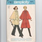 Vintage Sewing Pattern Simplicity Sherlock Holmes Steampunk 7163 Size 8-10 Caped Coat 1975 UNCUT