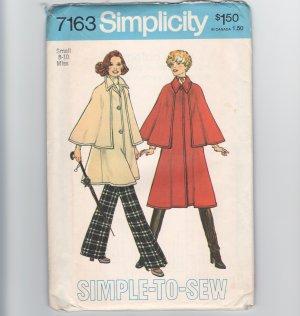 Vintage Sewing Pattern Simplicity Sherlock Holmes Steampunk 7163 Size 8-10 Caped Coat 1975 UNCUT