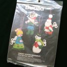 Vintage Bucilla Wind Up Toys Felt Christmas Jeweled Ornament Kit NIP