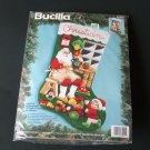 Santa's Workshop Jeweled Applique Christmas Stocking Kit NIP 1994 Bucilla