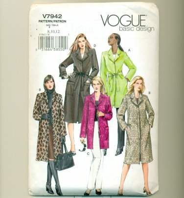 Sewing Pattern Vogue 7942 Size 8, 10, 12 Misses Belted Trench Coat UNCUT