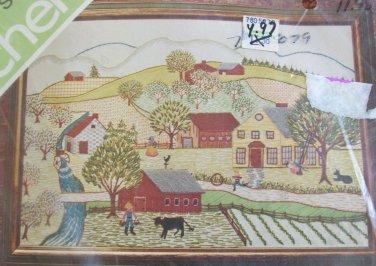 Vintage Primitive Crewel Embroidery Kit Spinnerin Stitchery Summer Scene NIP