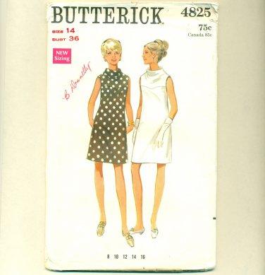 Vintage 60s Mod Dress UNCUT Sewing Pattern Size 14 (b 36, w 25 1/2) Butterick 4825
