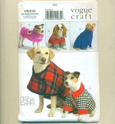 Vogue Dog Coat Pattern UNCUT V8312 Linda Carr