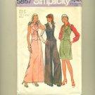 """Vintage Mod Vest Pants 1973 Sewing Pattern Size 12 (bust 34"""") Simplicity 5857 UNCUT"""