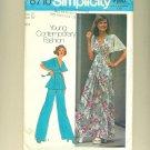 "Vintage Boho Flutter Sleeve Maxi Dress 1974 Sewing Pattern Size 12 (bust 34"") Simplicity 6710 UNCUT"