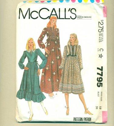 Vintage Sewing Pattern Boho Dress Size 12 (bust 34) McCall's 7795 UNCUT