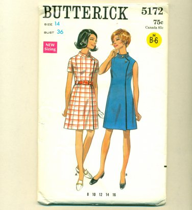 Vintage 60s Mod Wrap Dress UNCUT Sewing Pattern Size 14 (b 36, w 27) Butterick 5172
