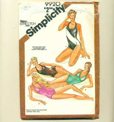 "80s Halter Bathing Suit Swimsuit Sewing Pattern Size 10 (bust  32 1/2"") Simplicity 9920 UNCUT"