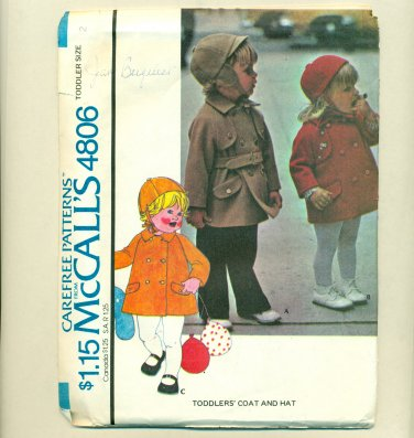 Vintage Toddler Trench Coat Sewing Pattern UNCUT McCalls 4806 T2