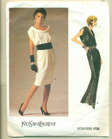 Vogue YSL Elegant Evening Dress Sewing Pattern 1720 Size 10 UNCUT