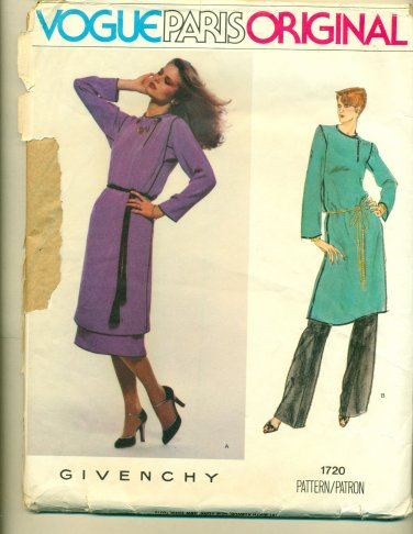 Vogue Givenchy Paris Original Tunic Skirt Pants Sewing Pattern 1720 Size 12 UNCUT