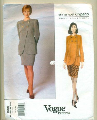 Vogue Ungaro Paris Original Jacket Skirt Pants Sewing Pattern 1996 Size 14-16-18 UNCUT