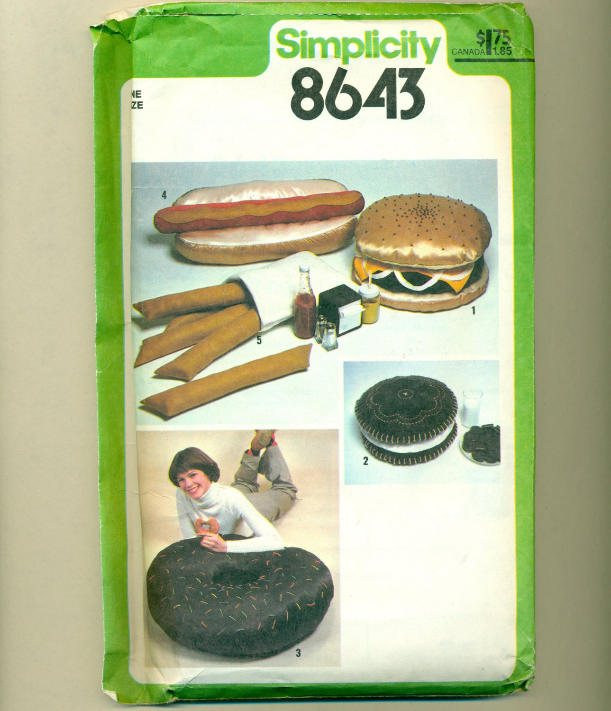 Vintage Junk Food Hot Dog Hamburger Donut Sewing Pattern UNCUT Simplicity 8643