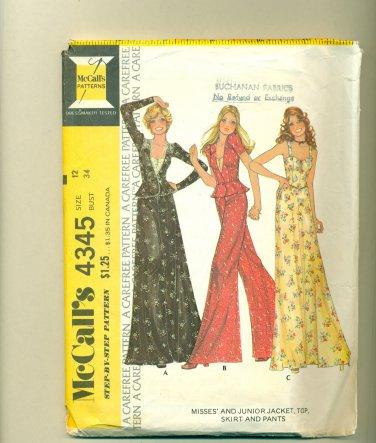 Vintage 1974 Mod Maxi Skirt, Bustier, Wide Pants Sewing Pattern McCalls 4345 Size 12 (bust 34) UNCUT
