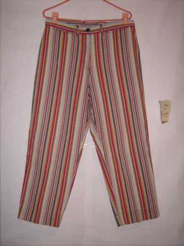 St. John's Bay Striped Denim Jean Capris size 14 Long