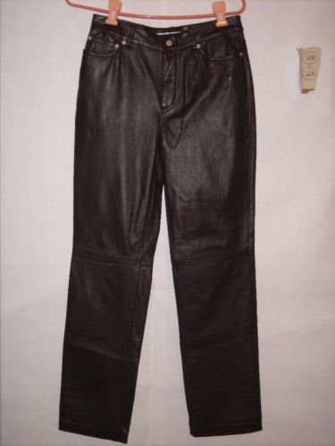 Tommy Hilfiger Brown 100% Leather Pants size 4 NWOT