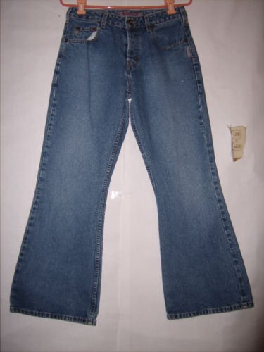 Silver Boot Cut Button Fly Blue Denim Jeans Size 30x29