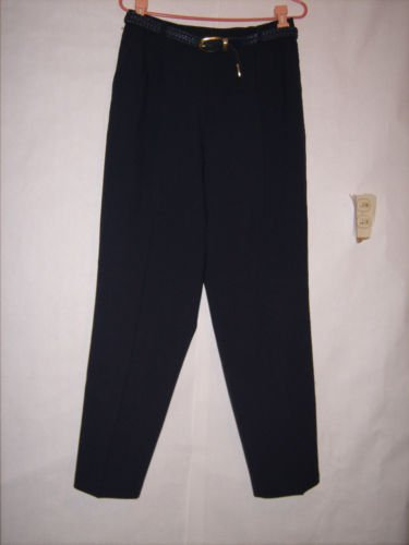 Liz Bakers Essentials Blue Pleated Pants size 14 belt