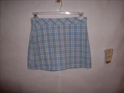 Tangents blue Plaid Cotton Skort size 3/4 EUC