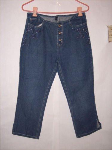 Jazzie Blue Denim Jean Capris Size M w/ Studs