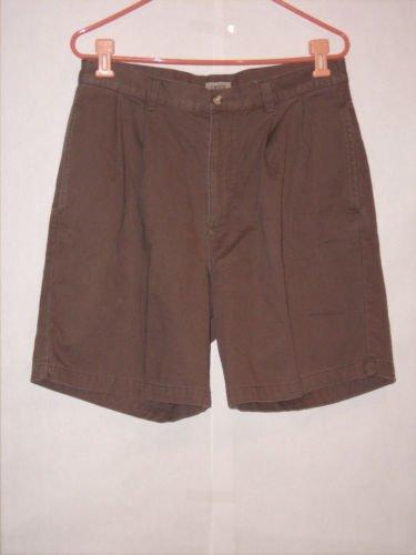 IZOD Brown Khaki Dress Pant Shorts size 32 Pleated