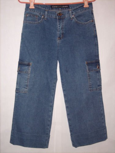 David Kahn Blue Denim Jean Cargo Capris size 6 EUC