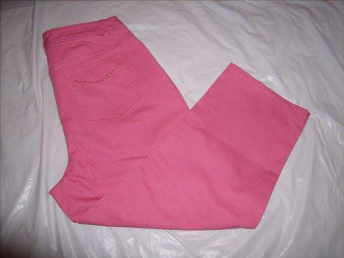 Denim & Company Pink Denim Jean Capris size 12 NWOT
