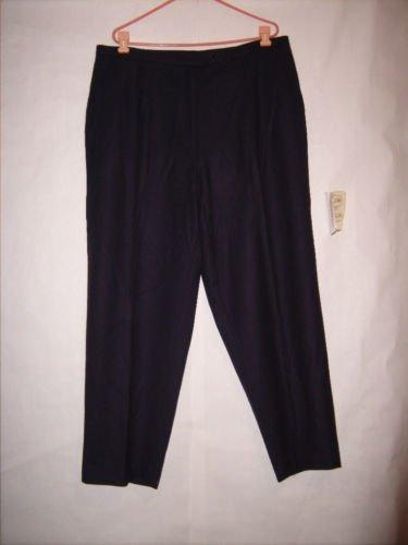 Jon Lawrence LTD Navy Blue Single Pleat 100% Wool Dress Pants size 24W lined