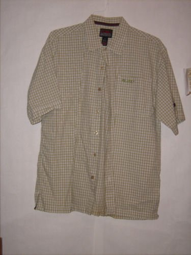 FUBU Plaid Button Down Dress Shirt size L Short sleeve