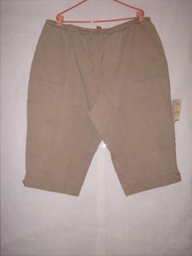 White Stag Beige Khaki Stretch waist Pant Capris Size 24W with draw strings