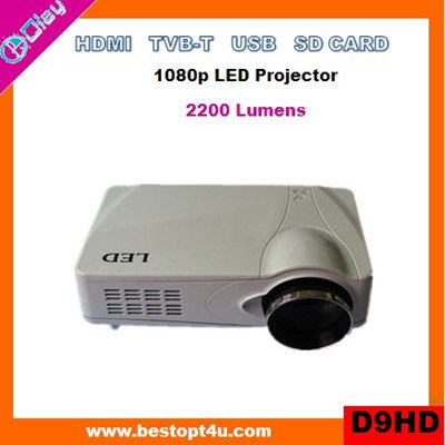 Portable digital tv projector HDMI 1080p with USB/SD reader (D9HD)