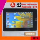 Cheapest 7inch android 2.2 tablet pc phone call free shipping (M12)
