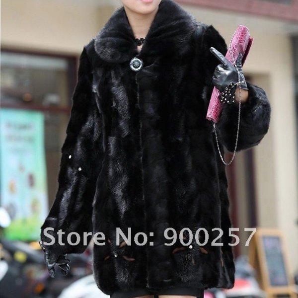 Genuine Real Black Pieced Mink Fur Coat L
