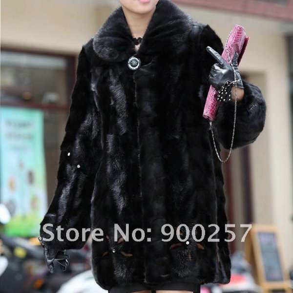 Genuine Real Black Pieced Mink Fur Coat XL